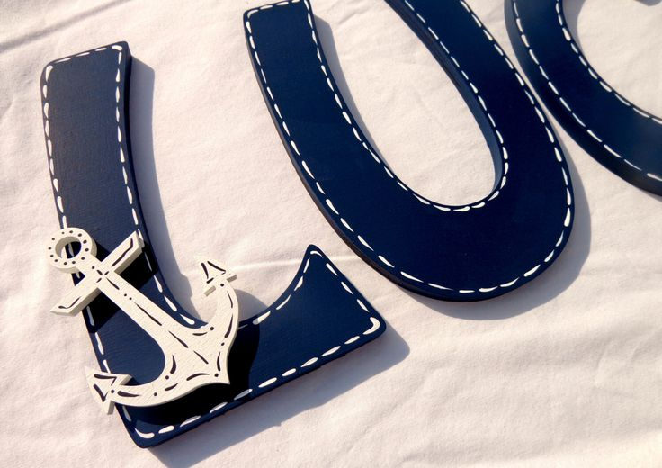 Nautical Navy Blue Painted Wood Wall Letters with Anchor & Sailboat by TheFairyPaintbox on Etsy https://www.etsy.com/listing/207011512/nautical-navy-blue-painted-wood-wall