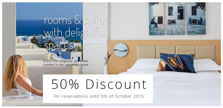 Summer Catch with 50% Discount until 5th of October 2015 ! #lastminuteoffer #visitgreece #summer2015 #greekislands #Greece #lagosmarehotel --> more at https://lagosmarehotel.reserve-online.net/