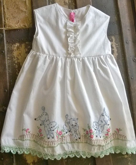 Toddler Dress,Vintage Embroidered, Mid-Century Embroidery, Sweet Little Lambs Easter Dress, Toddler 2t Dress, Hand-Crochet