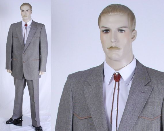 Vintage 1970s Men's Western Suit   Lined Sport Coat &