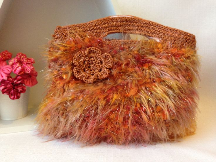 Shades of Orange Knitted Handbag