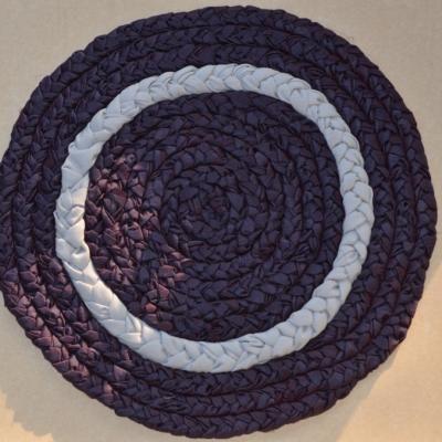 Handmade, woven bath mat (cotton and silk plaits) / Ręcznie robiony, bawełniano - jedwabny chodniczek łazienkowy
