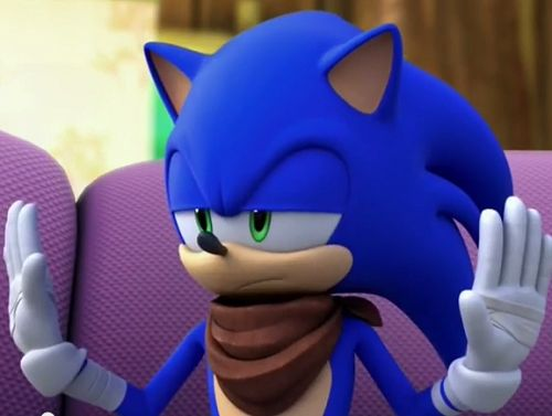 """ Sonic has a severe case of ""talk to the hand"" syndrome. """