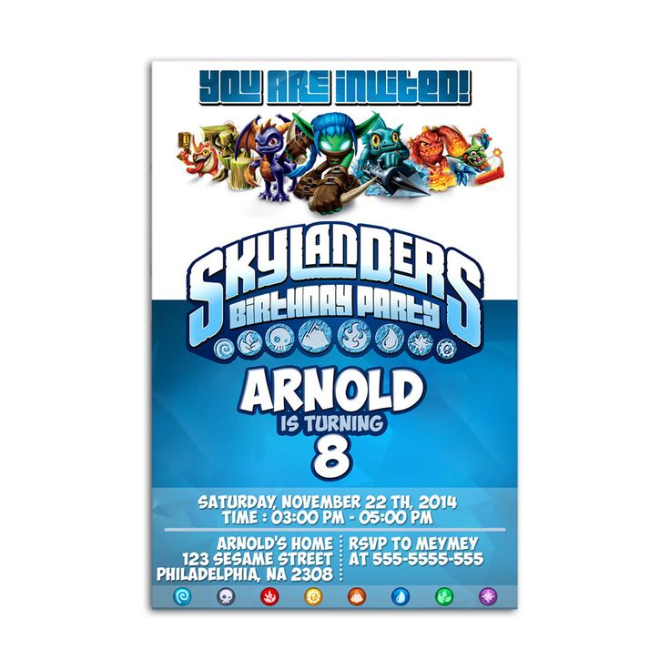 skylanders Kids Birthday Invitation Party Design