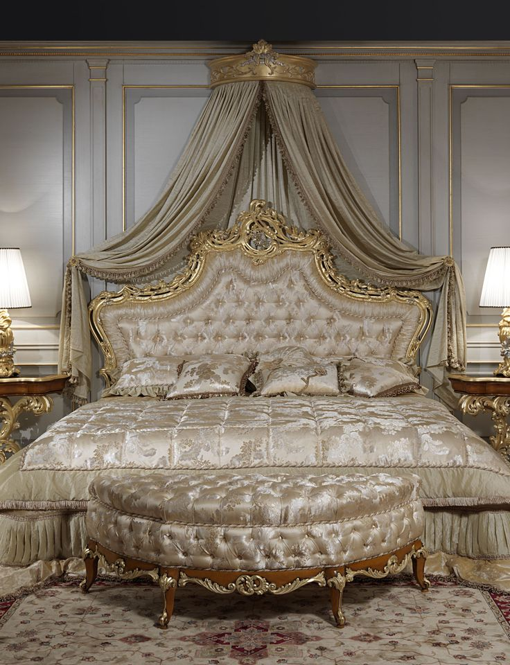 Luxury classic bedroom roman baroque style of the Seventeenth century: baroque toilette and night tables, luxury classic bed, classic lamps