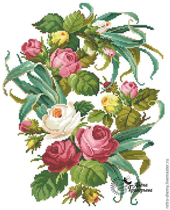 Купить или заказать Схема вышивки 'Песня роз' в интернет-магазине на Ярмарке Мастеров. Авторская реконструкция старинной схемы для вышивания крестом 1800-1900 годов. К схеме прилагается ключ в цветовой палитре ниток DMC, а также возможные размеры готовой вышивки на 14, 16, 18 и 25 канве. Схема в электронном виде, в формате PDF. Можно заказать цветной или черно-белый вариант схемы по вашему желанию, или оба варианта. Схема высылается на электронную почту заказчика сразу после оплаты.