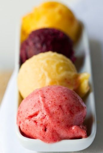 All you need is a blender to make these summer sorbets! Try creamy coconut banana, peach cinnamon, banana lime, raspberry lime, blackberry, banana papaya and more!  #SweetTreats  #OsterBlending  #sorbet