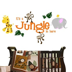 @Overstock - This 'It's a Jungle In Here' wall decal set is great for a nursery or a child's playroom. This fun jungle friends set comes filled with jungle animals and will bring a smile to any child?s face.http://www.overstock.com/Main-Street-Revolution/Vinyl-Its-a-Jungle-In-Here-Wall-Decal/6293320/product.html?CID=214117 $59.99
