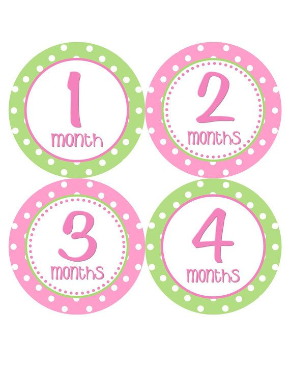 Baby Shower Zilla ~ Baby month stickers monthly onesie girl green