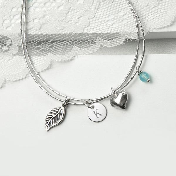 Women's Sterling Silver Personalised Friendship Bracelets Multicoloured (Blue Topaz Shown)