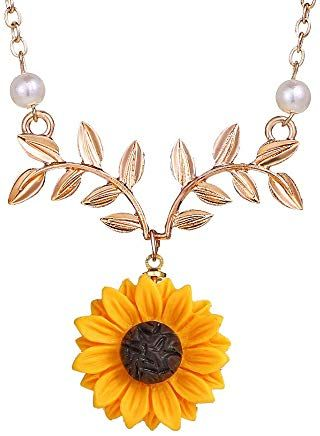 3f1400ff79 17mile Sunflower Pearl Leaf Chain Resin Boho Handmade Drop Pendant Choker  Necklace Plated Gold/Rose Gold/Silver