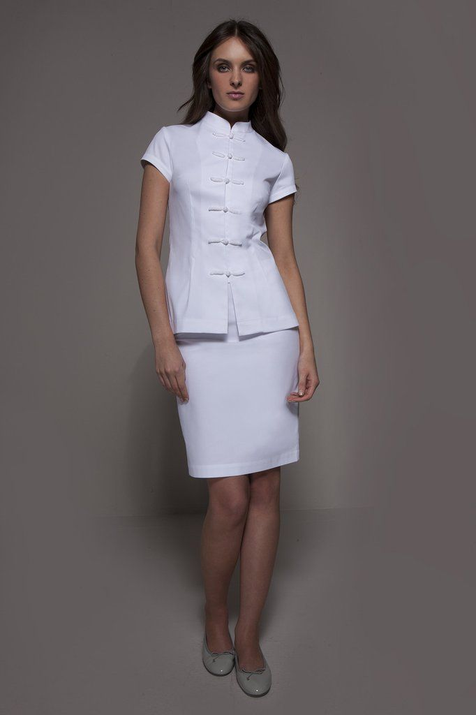 SHANGHAI Tunic (White) - Manhattan Set _ A classy Spa Uniform & Medical Uniform with an asian flare. Perfect also for acupuncture settings.