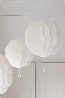 @ Dress Factory: Paper doily balls with crystal drops