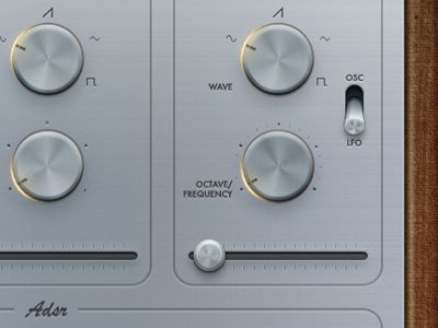Dials and knobs and sliders on the 76 Synthesizer - Titanium app