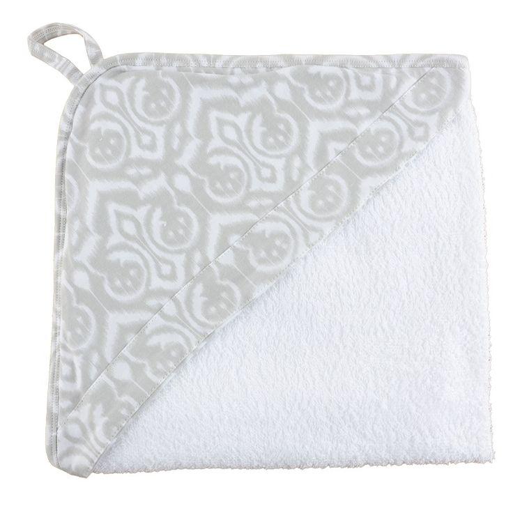 Grey Ikat Hooded Towel. www.wildandbliss.com