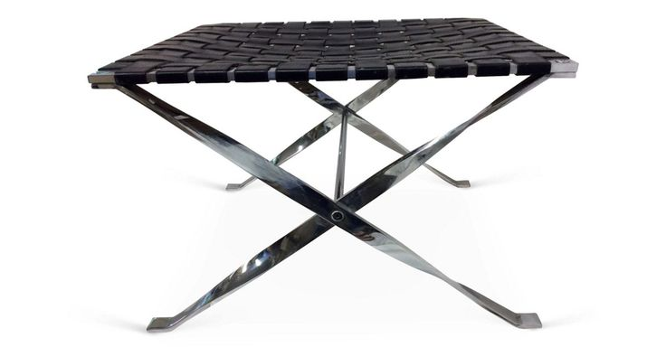 Handsome chrome-base x-bench with woven leather top. Bought in England.