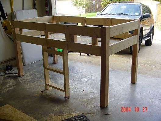 DIY Woodworking Ideas Simple Loft Bed Plans Free | Ladder brackets I made from some 1 1/2 1/8steel.