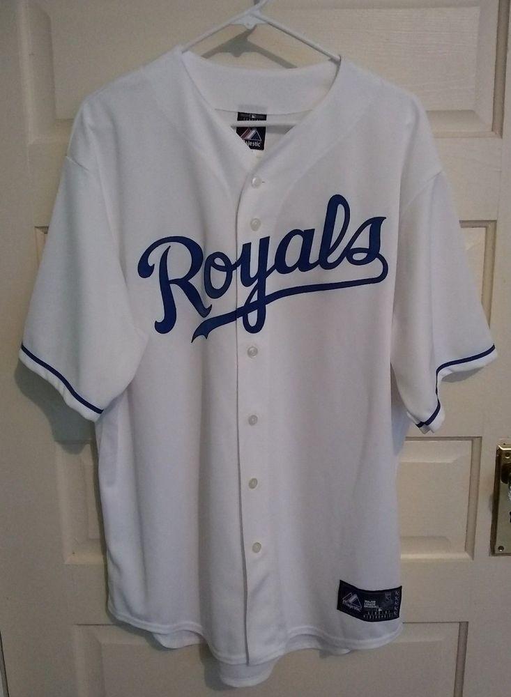 Vtg Kansas City Royals Jersey Majestic MLB White Baseball Mens XL Sewn  Letters  Majestic  KansasCityRoyals d3e09486a