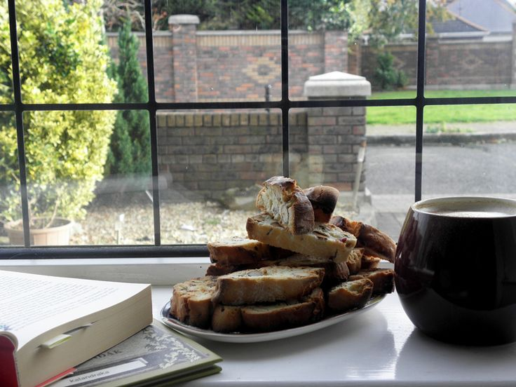 The simple joys in life! Bake some biscotti, make yourself a latte, pour it in a fat cup, choose a book, look out the window, stuff your face! Homemade joy!
