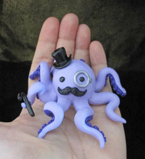 Custom Color Gentleman Octopus with a Mustache by egyptianruin, $28.00