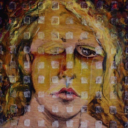 "Crying Ghost / Le fantôme pleurant - Acrylic on wood board - 8"" X 8"""