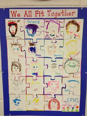 "What a great back to school or all about me activity that illustrates how EVERY student fits together to make the perfect class.  All the directions as well as some more great"" getting to know each other"" activities in this post.  Read more and see all the directions for this great display at:  http://mrsgoffskinders.blogspot.com/2013/09/thanks-to-my-blogging-buddies-for-these.html"