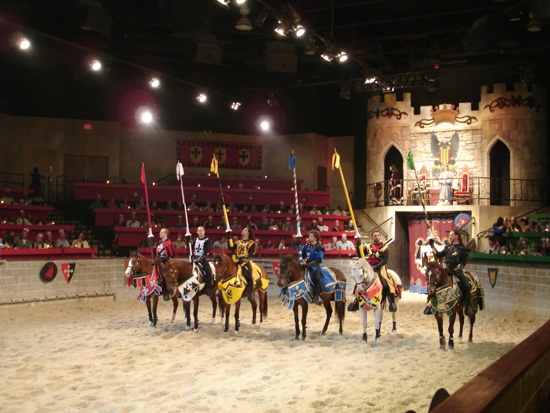 Medieval Times; Check out the jousting while you eat with your fingers!