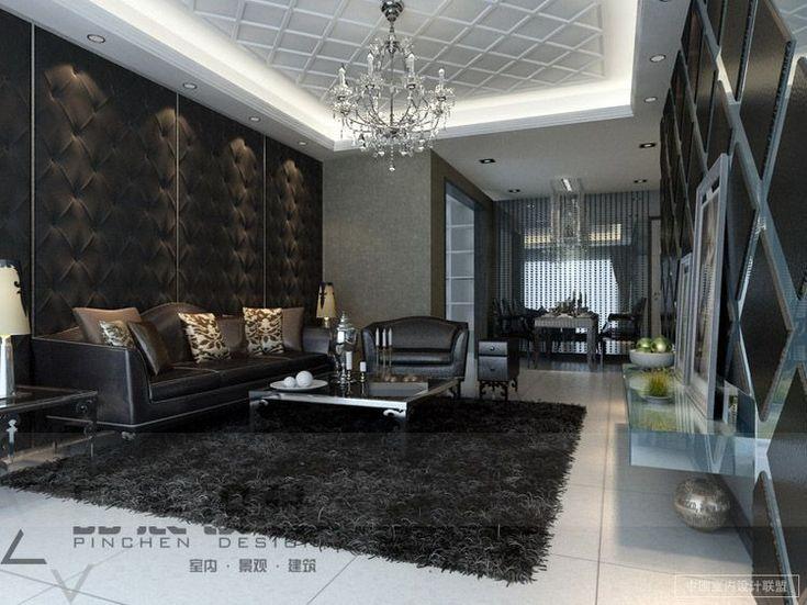 Dark Living Room Feature Walls Textures Chandelier. Dark Living RoomsLuxury  ...