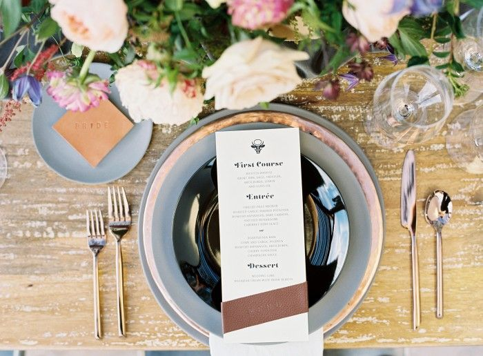 Wedding Menus with Leather // Masculine Wedding Stationery