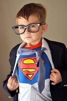 Little boy Superman Clark Kent Costume for Halloween.  ||  So cute!