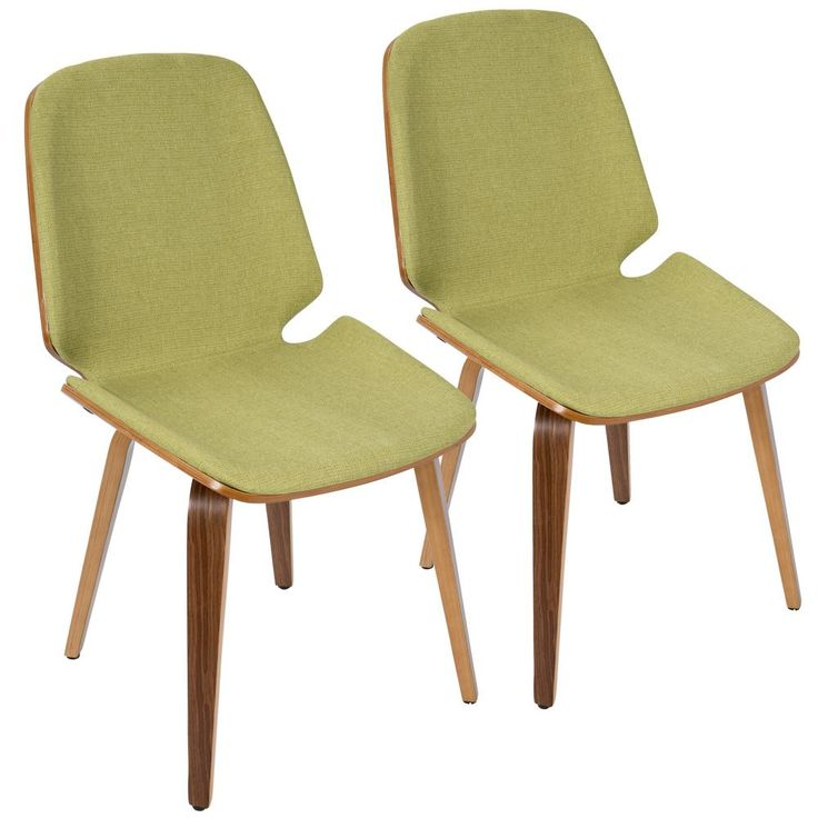 Serena Walnut and Green Accent Chair (Set of 2), Brown/Green