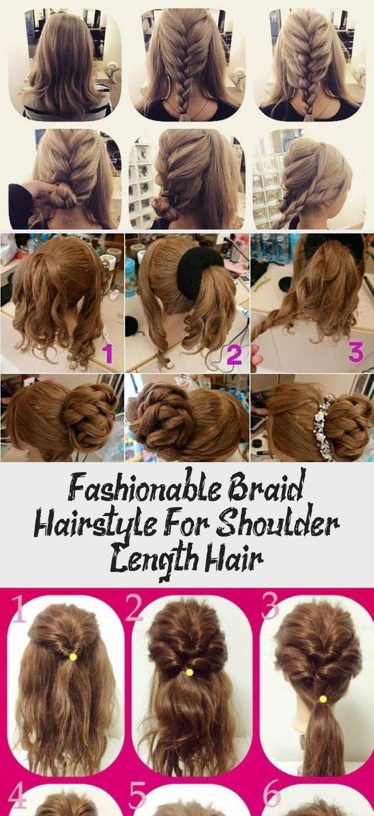 Fashionable Braid Hairstyle For Shoulder Length Hair Hairtutorialpeinados Hairtutorialtiktok Hairtutori In 2020 Shoulder Length Hair Hair Lengths Braided Hairstyles