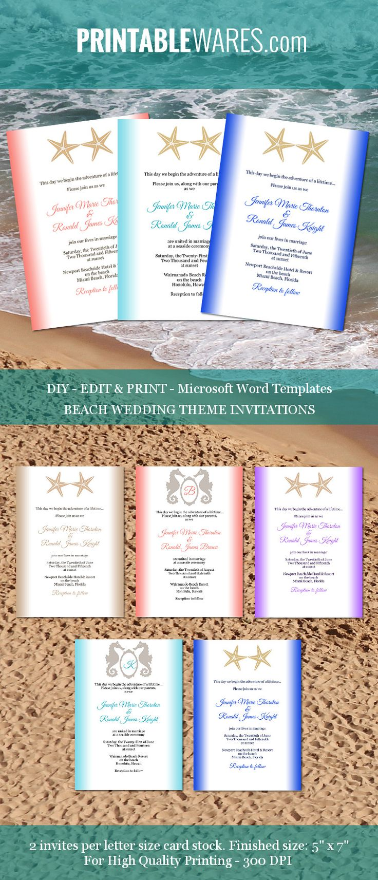 17 best images about wedding templates program printable beach theme wedding invitations editable microsoft word templates for wedding