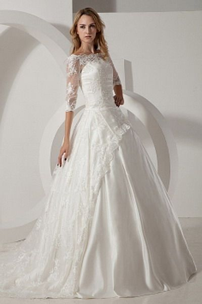 Luxury Ball Gown Off Shoulder Wedding Dress - Order Link: http://www.thebridalgowns.com/taffeta-ivory-rhinestone-a-line-wedding-dress-p-7595 - SILHOUETTE: Ball Gown; SLEEVE: Sleeveless; LENGTH: Cathedral Train; FABRIC: Lace; EMBELLISHMENTS: Beading , Lace , Sequin - Price: 214USD