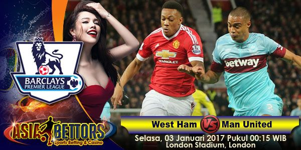 Prediksi West Ham United vs Manchester United, Prediksi Skor West Ham United vs Manchester United, West Ham United vs Manchester United akan bertemu di partai lanjutan Liga Primer Inggris yang rencananya akan digelar pada hari Selasa, 03 Januari 2017 Pukul 00:15 WIB dan disiarkan secara live dari London Stadium, London.