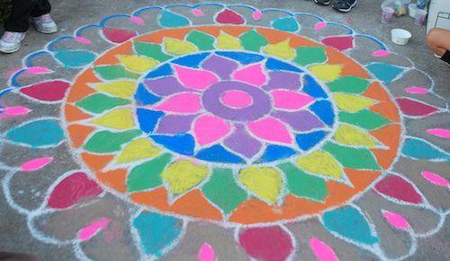 Chalk Rangoli Diwali- Kid World Citizen