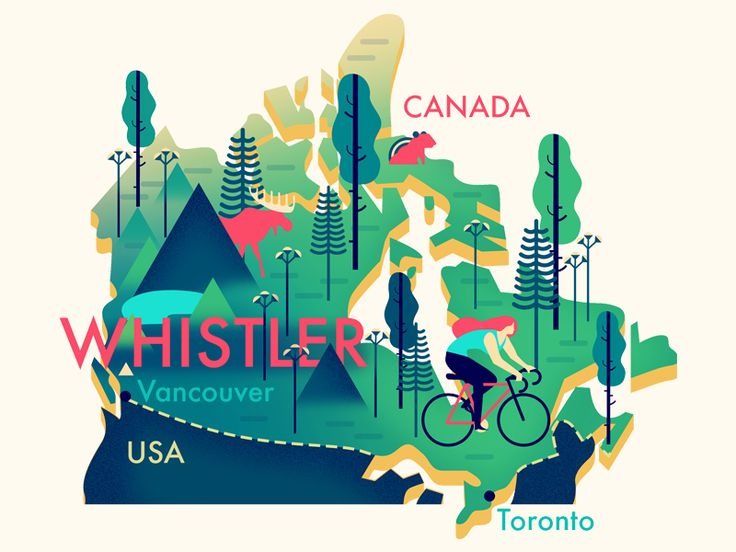 Whistler (Canada) Map by Owen Davey
