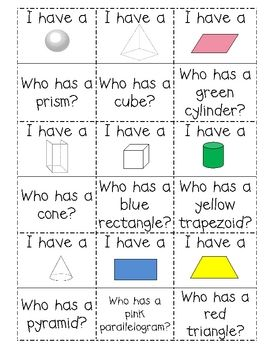 "Solid Figures review:  ""I Have Who Has"" game - cut out cards and pass them out to students"