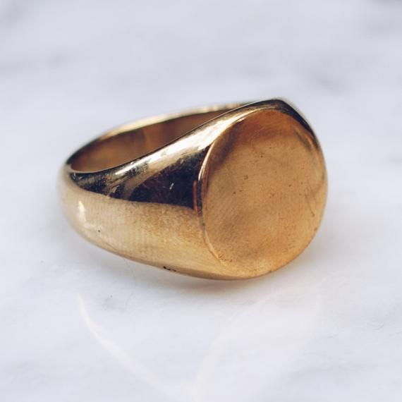 Minimalist Mens Gold Ring Flat Top