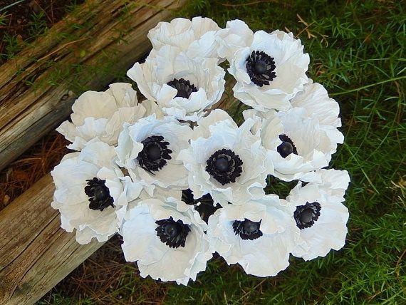 Anemone Wedding Bouquet White Paper Anemone by RubyandCosette
