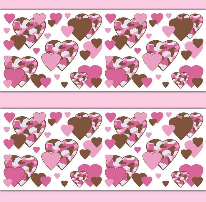 Pink Camo Camouflage Heart Wallpaper Border Wall Art Decals Girl Room Decor #decampstudios #Camouflage