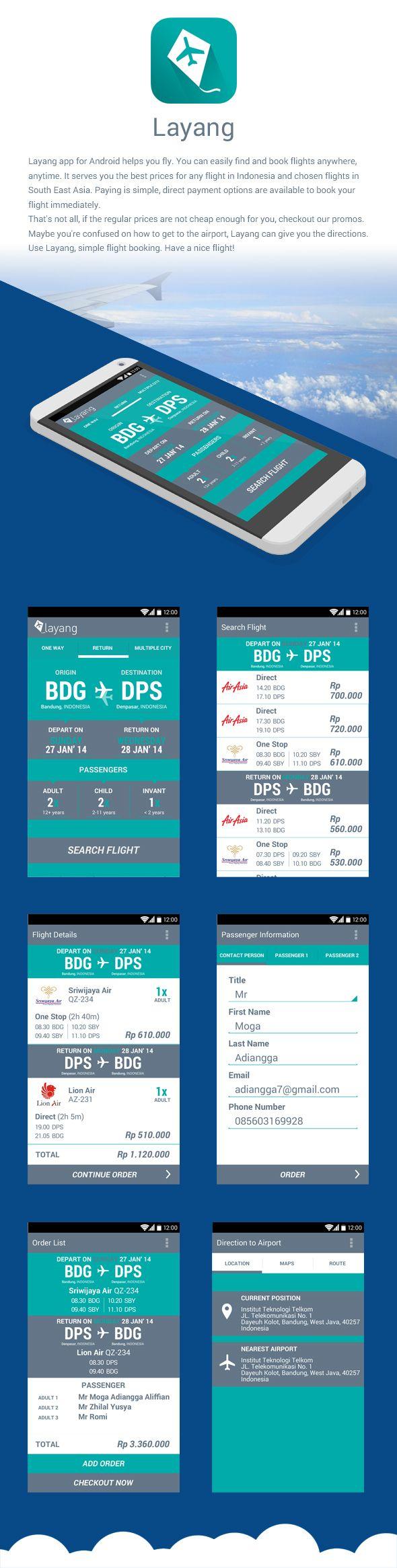 Layang - Flight Booking app (android) by Moga Adiangga, via Behance