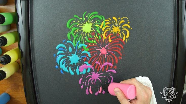 Firework Pancake Art (Happy 4th of July)