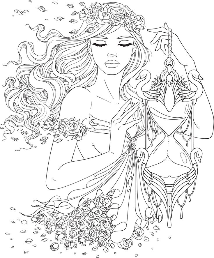 line artsy free adult coloring page time uncolored - Coloring Page Woman