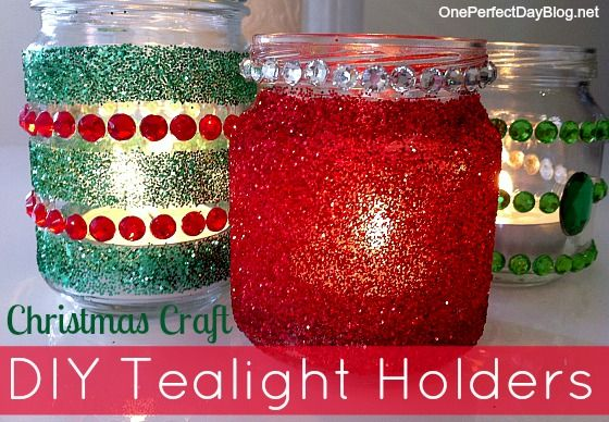 Christmas craft -- jar candles I like the idea of letting the kids decorate old jars - but maybe use more stickers and skip the glitter.  Maybe use flameless tealights.
