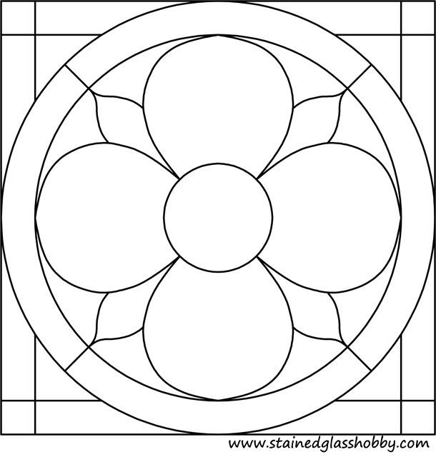 Circle in square stained glass pattern 2