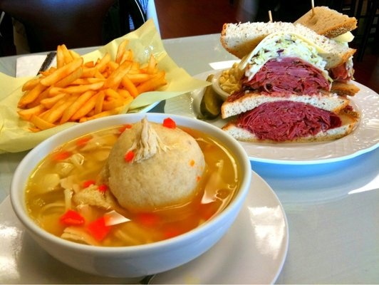 The New York Deli - Torrance. CA ... Matzo Ball Soup. New Yorker. and French Fries | Deli food. Food. Jewish recipes