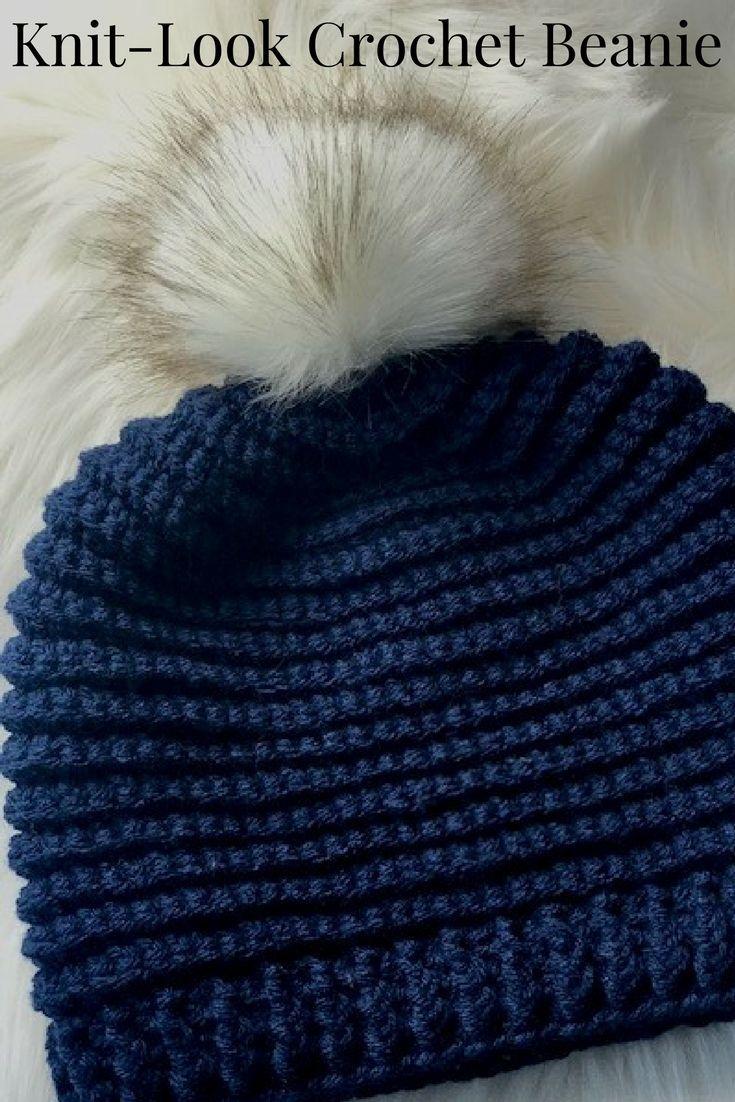 Knit Look Crochet Hat Pattern - Crochet Beanie Pattern  131e9e14970
