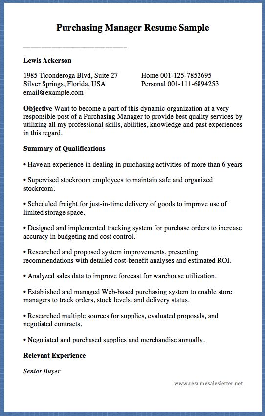 Purchasing Manager Resume Sample _____________________________ Lewis Ackerson    1985 Ticonderoga Blvd, Suite 27 Home 001-125-7852695   Silver Springs, Florida, USA Personal 001-111-6894253   email@example.com     ObjectiveWant to become a part of this dynamic organization at a very responsible...