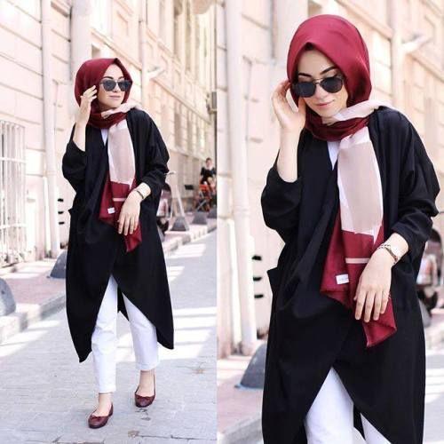 black tunic with printed scarf hijab look